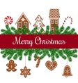 Merry christmas card with gingerbread figures vector image vector image