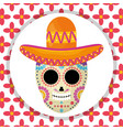 mexican skull death mask with mariachi hat in vector image vector image