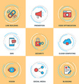 Modern Line Icons Set Security Search Engine vector image