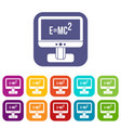 monitor with einstein formula icons set vector image vector image