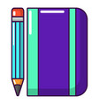 notepad pencil icon cartoon style vector image