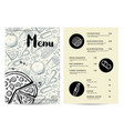 restaurant fast food menu with prices vector image vector image