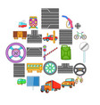 route icons set cartoon style vector image vector image