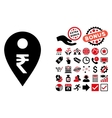 Rupee Map Marker Flat Icon with Bonus vector image vector image
