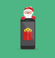 santa claus giving gift on phone vector image vector image