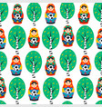 seamles pattern with russian matrioshka birch and vector image