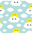 seamless pattern sun holding cloud in sky vector image vector image
