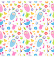 seamless pattern with baby girl and boy elements vector image