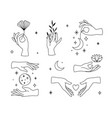 set female hand logos icons in minimal linear vector image