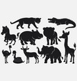 set of black silhouettes wild animals cartoon on w vector image