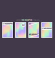 set of holographic gradient templates vector image vector image