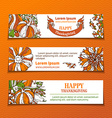 set of Thanksgiving horizontal banners vector image