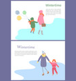 set walking mum with child in wintertime vector image vector image