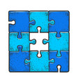 solved puzzle without one piece sketch engraving vector image
