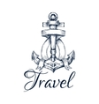 Travel icon Anchor and ribbon node emblem vector image vector image