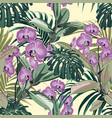 tropical pattern background with exotic orchid vector image vector image