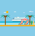 vacation and travel sea beach with lounger vector image