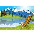 woman sunbathing on lounge chair vector image vector image
