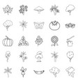 world of nature icons set outline style vector image vector image