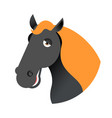 black horse head muzzle hoss isolated on white vector image