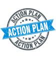 action plan round grunge ribbon stamp vector image