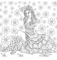 adult coloring bookpage a cute girl wearing a vector image vector image