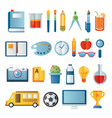 back to school icon set in paper art item vector image