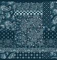 blue bandana paisley fabric patchwork vector image vector image