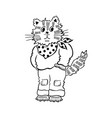 cartoon cat standing outlined drawing vector image