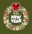 christmas set of icons text vector image vector image
