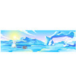 cute picture a polar bear fishing cartoon vector image vector image