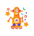 cute robot on wheels android character vector image vector image