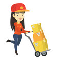 delivery postman with cardboard boxes on trolley vector image vector image