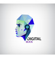 digital man robot logo icon isolated vector image