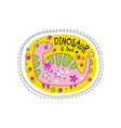 dinosaur is love patch badge cute cartoon animal vector image vector image