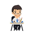 Engineer at his Desk with Blueprints vector image vector image