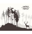 Forest design pine tree deer drawing sketch vector image vector image