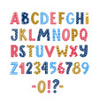 funny colorful scandinavian latin alphabet poster vector image