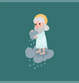 god character pours rain on the earth vector image vector image