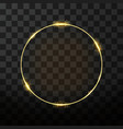 golden frame with glow effect neon circle frame vector image vector image