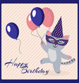 happy birthday postcard template with cute vector image vector image