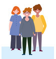 happy friendship day man and women cartoon vector image vector image