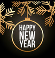 happy new year gold ball and snowflake celebration vector image