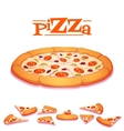 hot pizza on white vector image vector image