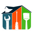 house and tool symbol for repair vector image vector image