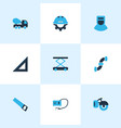 industry icons colored set with welder concrete vector image