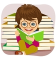 little boy reading an interesting book vector image vector image