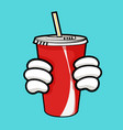 llustration of red soda cup and holding hands vector image