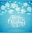 merry christmas poster with hand-drawn lettering vector image vector image