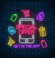 neon advertising banner of mobile app special vector image vector image